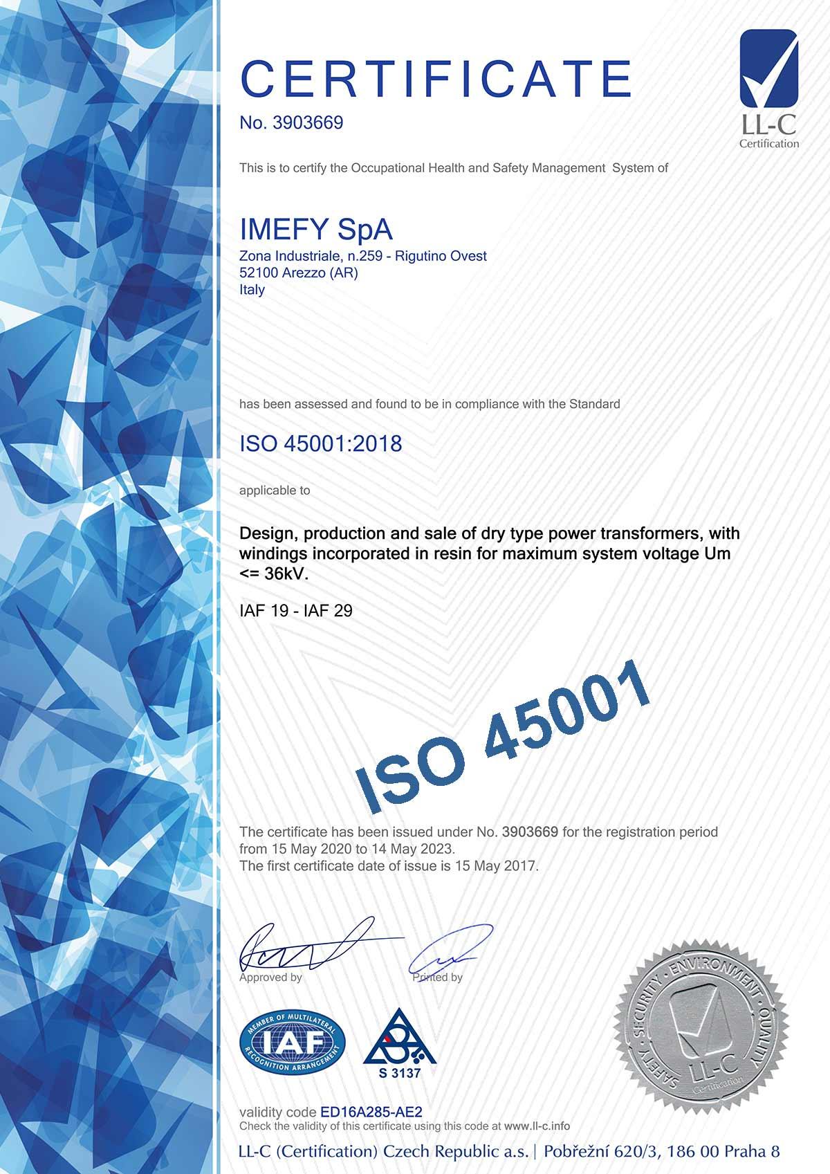 Certificato N. 3903669 ISO 45001