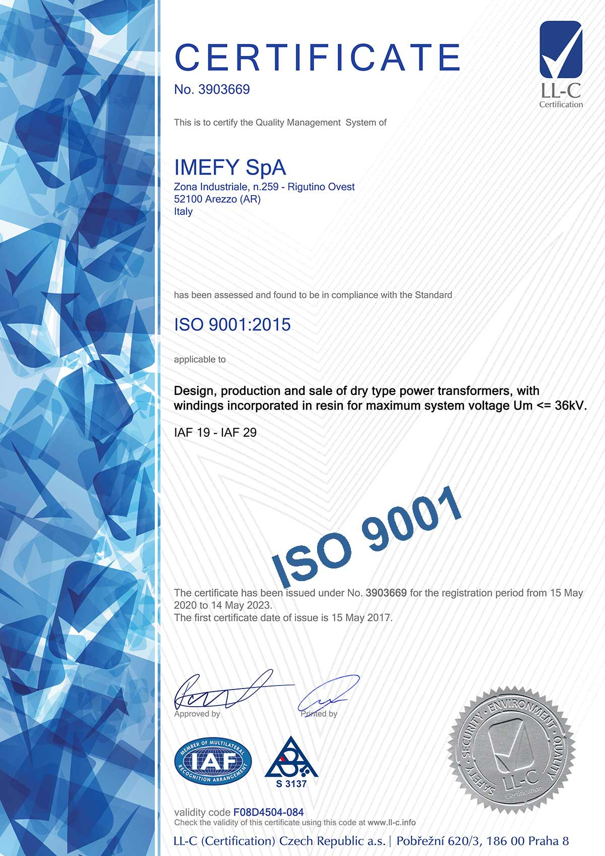 Certificato N. 3903669 ISO 9001